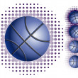������, ������: Blue basketballs with halftone