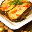 Eggplant with tomato and cheese — Stock Photo