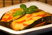 Eggplant with tomato and cheese — Photo
