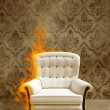 Stock Photo: Seat in flame