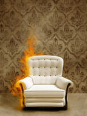 Seat in flame — Stock Photo