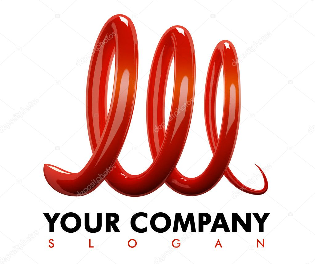 The red stylish M for company logo  Stock Photo #1984259