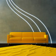 Interior - Yellow couch and neon wave — Stock Photo