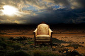 Throne in desolated rock desert — Stock Photo