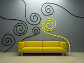 Interior design - Yellow couch and decor — Stock Photo
