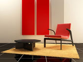 Interior design - Red seat in relax room — Stock Photo