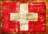 Swiss old painted flag — Stock Photo
