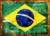 Brazil old painted flag — Stock Photo