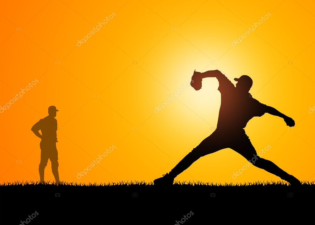 Shapes of men who play to baseball  Stock Photo #2095815