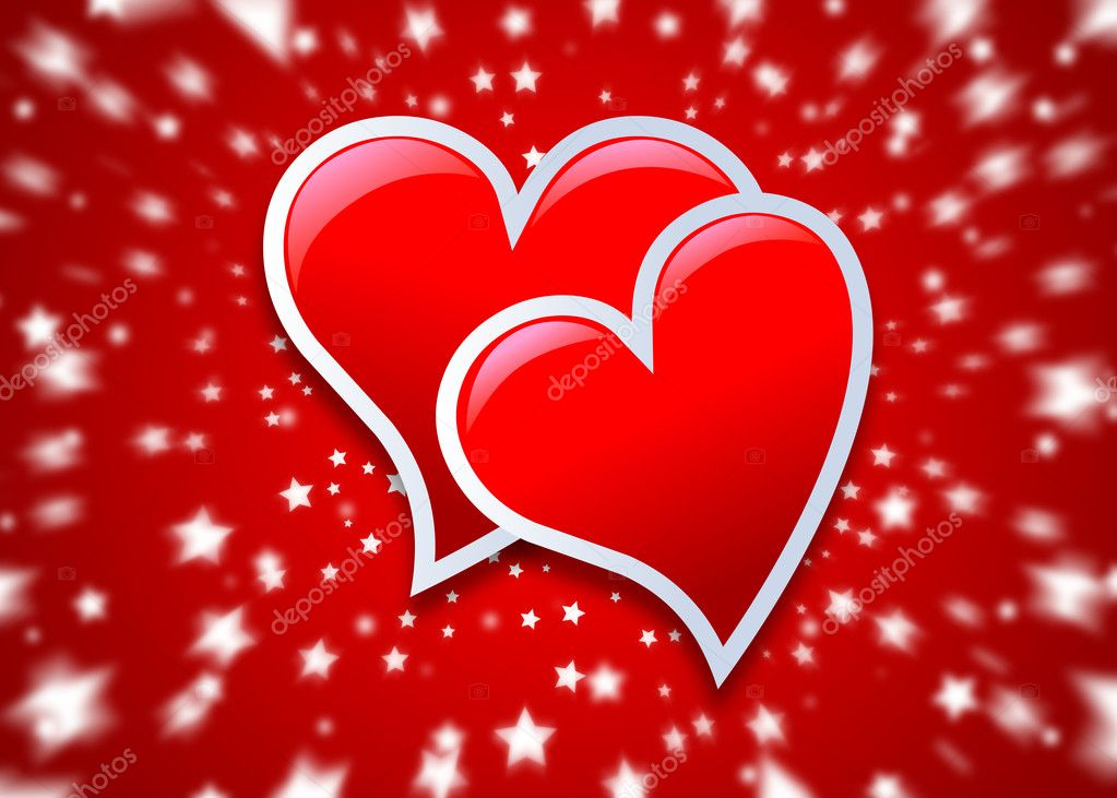 Two heart on red and stars background — Stock Photo #2097603
