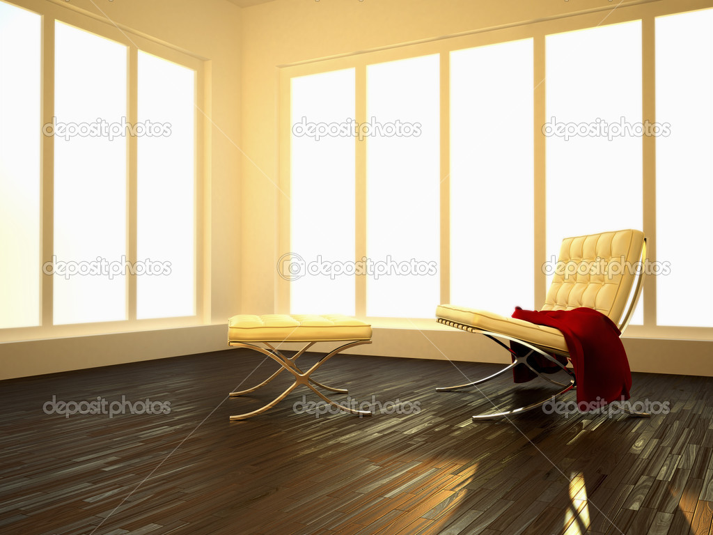 Luminous interior room with parquet floor and modern seat  Stock Photo #2216285