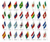 Equipe bandeiras copa do mundo 2010 — Foto Stock