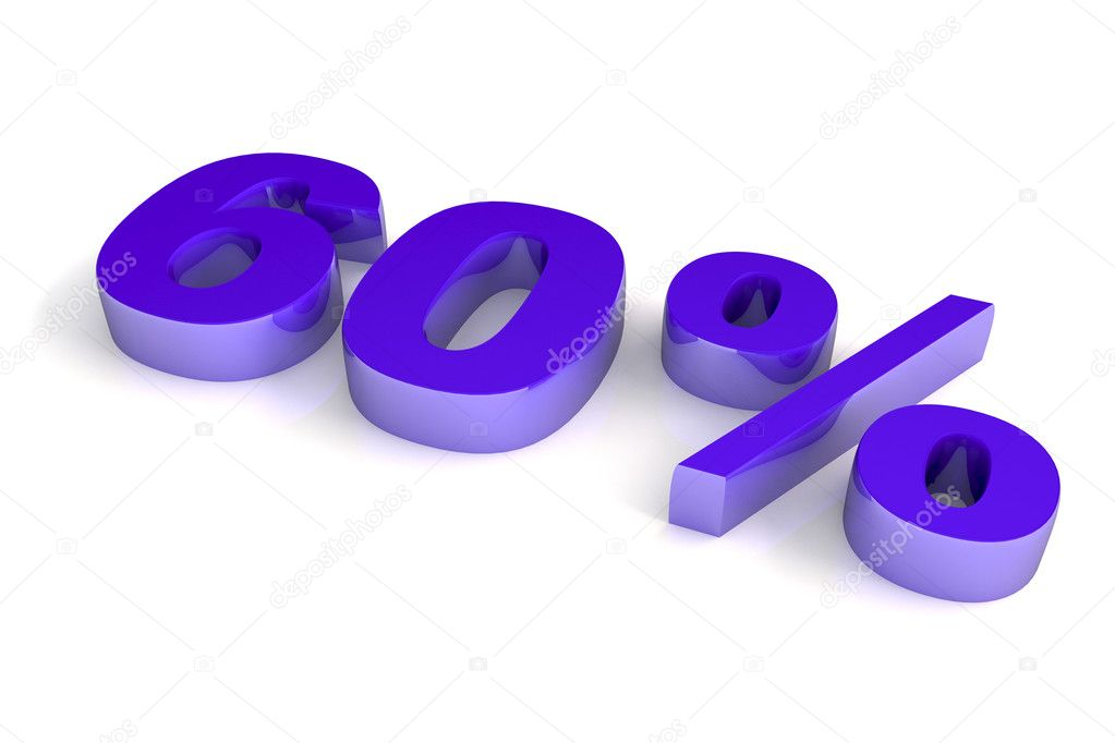 Threedimensional violet chromium sixty percent number — Stock Photo #2550576