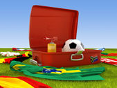 Suitcase of the soccer supporter — Stock Photo
