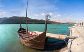 Old boat on Abrau lake — Stock Photo