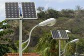 Solární panel a světlo — Stock fotografie