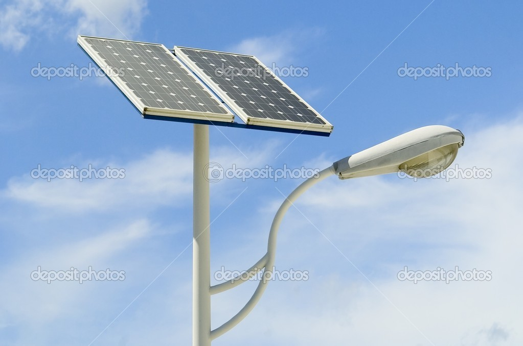 Solar panel and light — Stockfoto #1925998