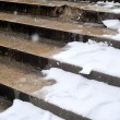 Snow in paris on stairs — Stock Photo