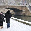 Stock Photo: Snow in paris - having a walk