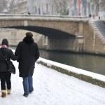 Snow in paris - having a walk — Stock Photo