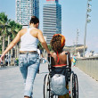 Helping a Wheelchair — Stock Photo