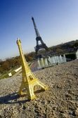 Eiffel tower and miniature — Stock Photo
