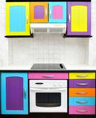 кухня цветной дизайн — Стоковое фото
