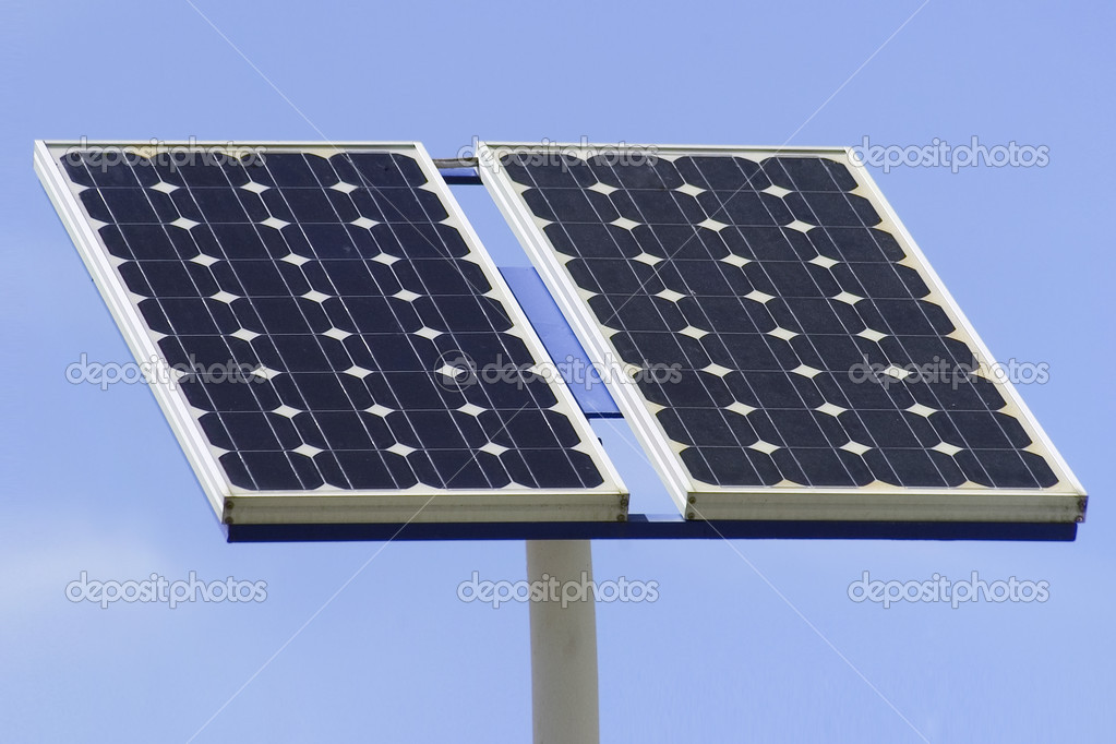 Solar panel with blue sky — Stock Photo #1981679