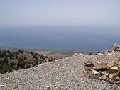 Mediterranean sea seen from Imbros ravin — Stock Photo