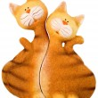 Stock Photo: Ceramic striped cats in love