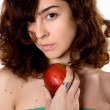 Beautiful girl with red apple — Stock Photo