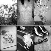 Collage of six wedding photos — Stock Photo