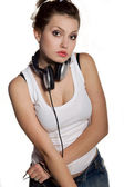 Brunette girl with headphones — Stock Photo