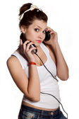 Pretty young girl with headphones — Stock Photo