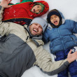 Happy family on winter vacation — Stok fotoğraf