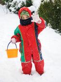 śnieg chłopca — Zdjęcie stockowe