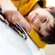 Cute kid painting — Stock Photo