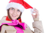 Portrait of beautiful girl wearing santa claus clothes — Stock Photo