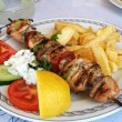 Photo: Greek meal pork souvlaki