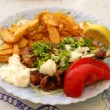 Stock Photo: Greek meal pork souvlaki