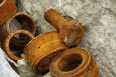 Rusty bolt and bearings — Stock Photo
