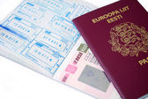 Russian visa and Estonian passport — Stock Photo