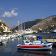 boats in harbour of island symi — Stock Photo