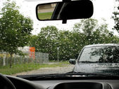 Rain drops on the windshield — Stock Photo