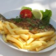 Stock Photo: Grilled fish on plate
