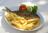 Grilled fish on the plate — Stock Photo