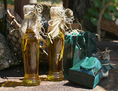 Bottles with olive oil — Stock Photo