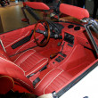 Stock Photo: RED RETRO CAR INTERIOR