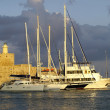 Stock Photo: Fortress and yachts at Rhodes island