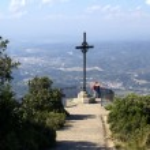 Cross, Montserrat monastery — Stock Photo